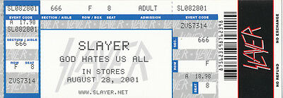 Slayer God Hates Us All RARE promo faux concert ticket '01