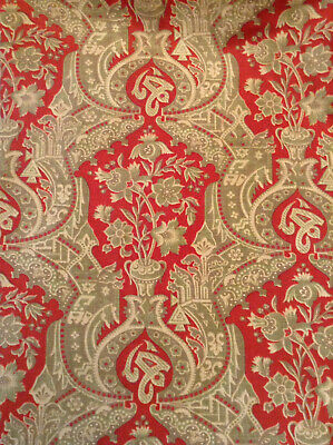 Antique French Fabric Printed Cotton 19th c. Stylized Japonisme Red Urn