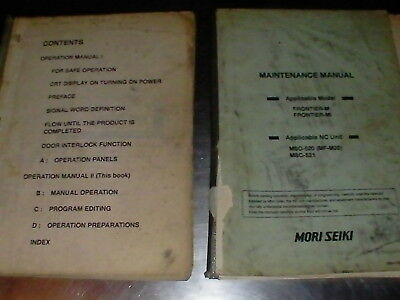 Mori Seiki Operation & Maintenance Manuals MSC 520/521 MF M20