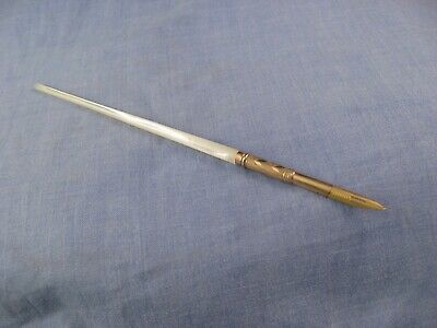 Antique Victorian Gold Plated Seamless Mother Of Pearl Dip Pen & Nib Calligraphy