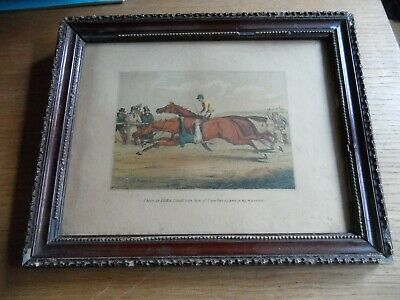Antique Horse Racing lithograph print in wooden frame 19th century original