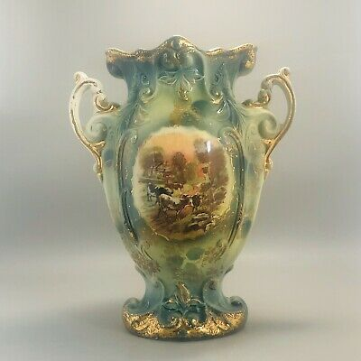 Antique 19th Century Victorian Grand Farmhouse Mantle Vase Green with Cows