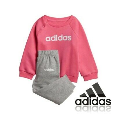 adidas Girls Jog Suit Kids Infant Pink Grey Tracksuit Top Bottoms 1,2,3,4 Years