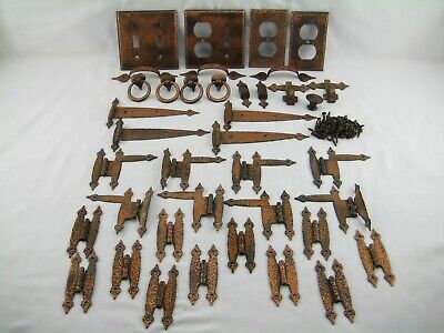 Antique Iron Butterfly Cabnit Hinge Lot Pulls Straps Handles Hooks Hardware Used