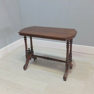 Victorian Carved Mahogany Side Hall Table Raised On Castors (84)