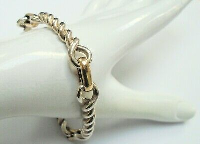 Very heavy quality vintage solid sterling silver rope twist link bracelet