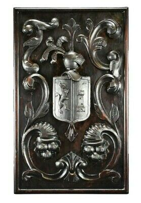 Large Thick Carved Wood Wall Panel Middle Ages Knight Helmet Shield Coat of Arms