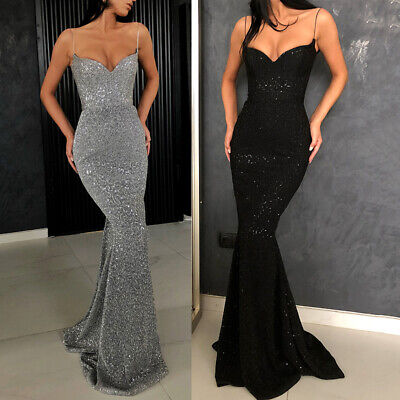 New V Neck Off Shoulder Womens Mermaid Maxi Formal Prom Gown Party Evening Dress