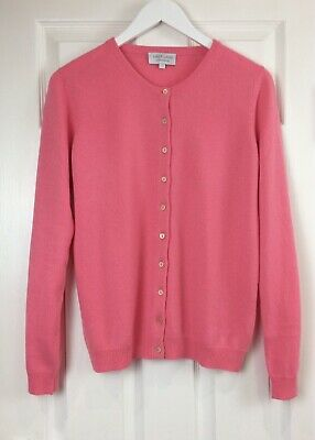 VAST LAND 100% Cashmere Crew Neck cardigan Soft Nancy Blush Warm  Lovely BNWT