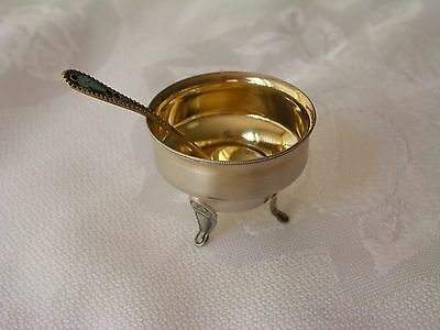 Vintage Russian Continental Silver Salt Cellar And Enameled Spoon