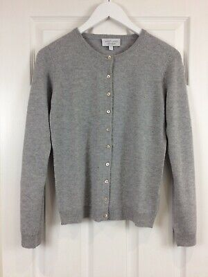 VAST LAND 100% Cashmere Crew Neck cardigan Flint Grey Warm  Lovely BNWT