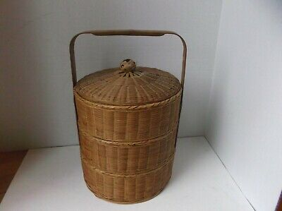 Vintage CHINESE WEDDING Sewing  BASKET 3 Tier Stacked  WICKER BAMBOO