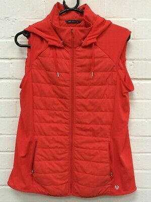 Ladies Marks & Spencer Flame Red Sleeveless Hooded Gilet Jacket *UK 16* #R14-CF