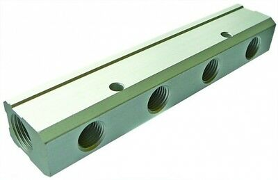"""MBAS06/04/03 Aluminium Sing Sided Manifold BSPP f Inlet 3/8"""" BSPP F 3x 1/4"""" Out"""