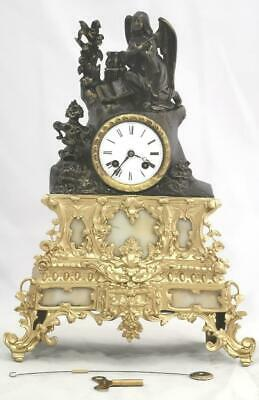 Antique Mantle Clock French 8 Day Stunning 2 Tone 2 Piece Figural Gilt C1880