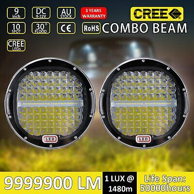 Pair 9inch 99999W CREE Round Black LED Spot Driving Lights Offroad 4x4 ATV Work