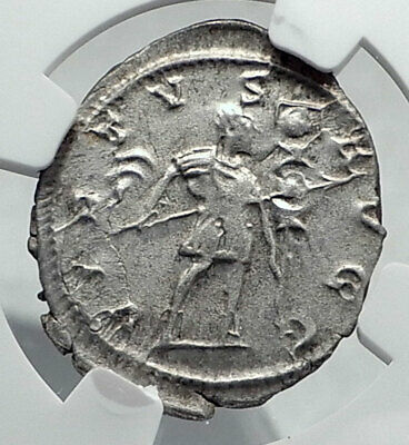 GALLIENUS Authentic Ancient Billon Silver Lyons 258AD Roman Coin NGC i81338