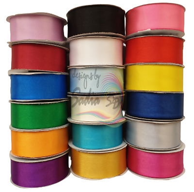 Satin Ribbon Rolls Double Sided 3mm 10mm 16mm 25mm 36mm Width Variety of Colour