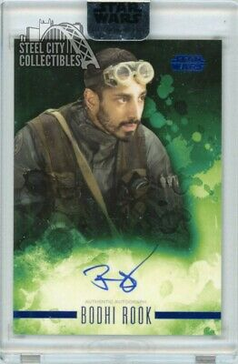 Riz Ahmed Bodhi Rook 2019 Topps Star Wars Stellar Signatures Auto Blue 09/25