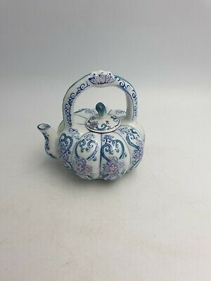Chinese Porcelain Small Teapot Pumpkin Shape Blue White Pink Floral Handpainted