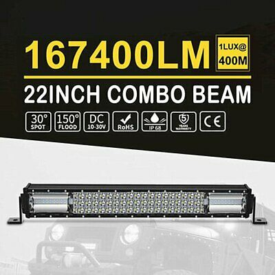 LightFox 22inch Cree LED Light Bar Spot Flood Side Shooter Driving Offroad 4x4