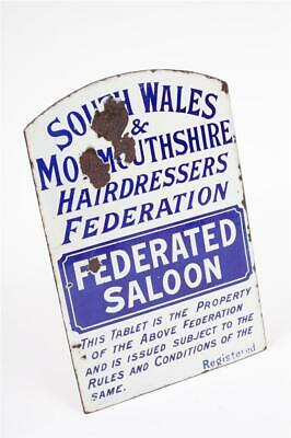 """Vintage ~ c1910 ~ """"South Wales Hairdressers Saloon"""" ~ Double Sided Enamel Sign"""