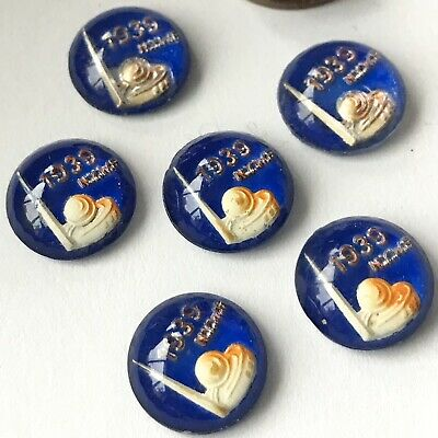 Vintage NY Worlds Fair 1939 Intaglio Glass Cabochons 13mm Cabs (2)
