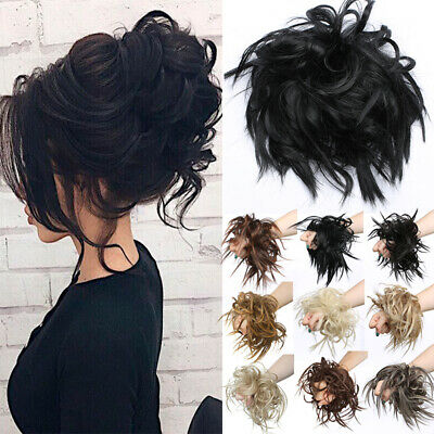 45g REAL THICK Elastic Scrunchie MESSY Bun Human Hair Extensions Natural Curly