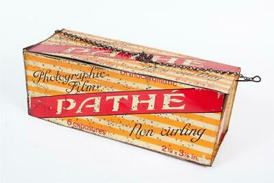 """Vintage~ c1920 ~ """"Pathe"""" """"Photographic Film"""" ~ Lithographed Tin ~ Six Sided Sign"""
