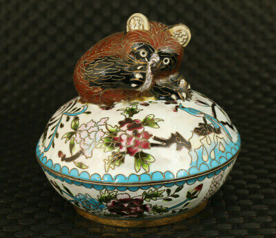 Antiques China old Cloisonne Handpainted lovely cat Statue box decoration gift