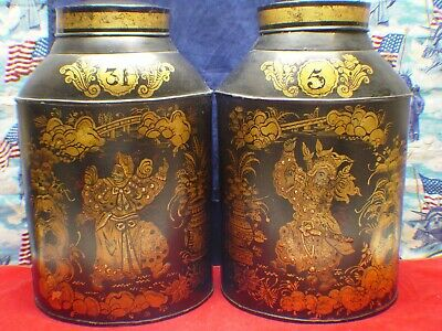 Very Rare Antique 19Th Century Mid 1800'S Oval Tin English Tea Tole Canisters