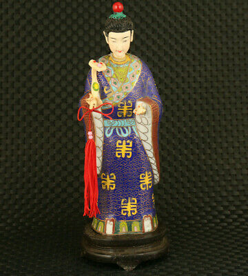 Chinese rare old cloisonne hand painting figure statue fine table decoration