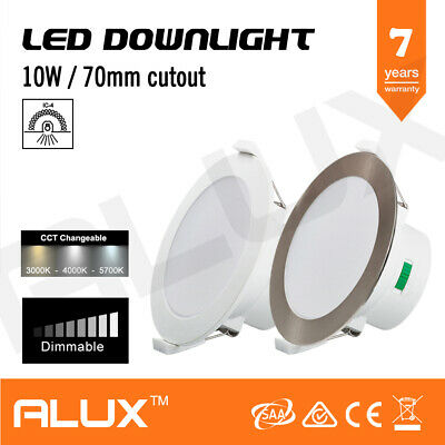 10W Dimmable Led Downlight Cct Tri Colour Changeable Ip44 70Mm Cutout
