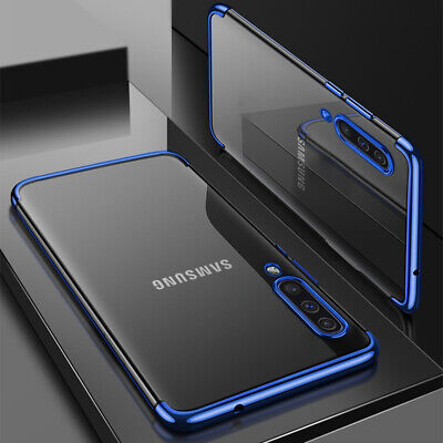 For Samsung Galaxy A30 A50 A70 Soft TPU Silicone Hybrid Clear Plated Case Cover