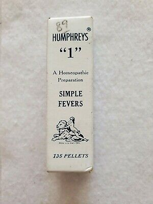 "Antique Humphreys Homeopathic Medicine  ""1"" Simple Fevers"