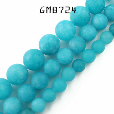 Matte Blue Chalcedony Stone Round Loose Bead for Jewelry Making 6/8/10mm