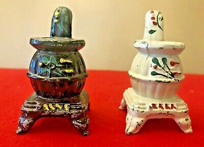 Vintage Pair of Matching Old Time Cast Iron Stove Salt and Pepper Shakers