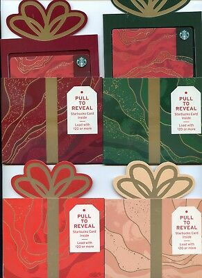 Complete Set 4 Color Holders Newest Holiday Surpise Starbucks Card