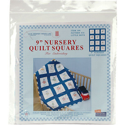 "Jack Dempsey Stamped White Nursery Quilt Blocks 9""X9"" 12/pkg-Little Boys"