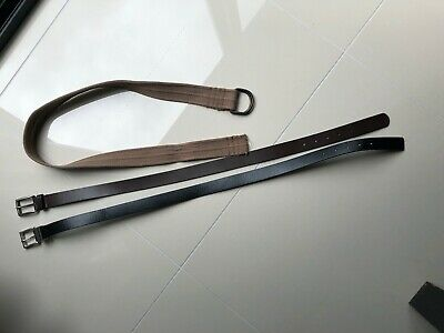 Boys Belts x 3 (Black/Brown leather & Canvas) suit waist 82cm - In VG Condition