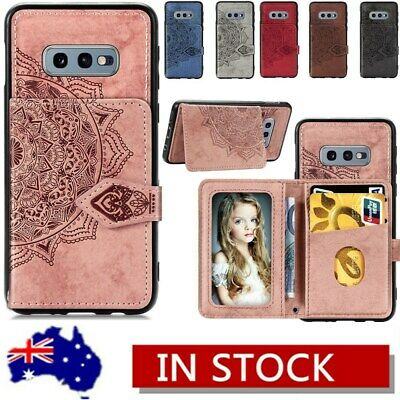 For Samsung S10 Plus S10e A20/30 A50 Magnetic Card Holder Flip Wallet Case Cover