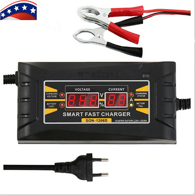 Fully Automatic 12V 6A Battery Charger Smart Lead-Acid GEL For Car Motorbike US
