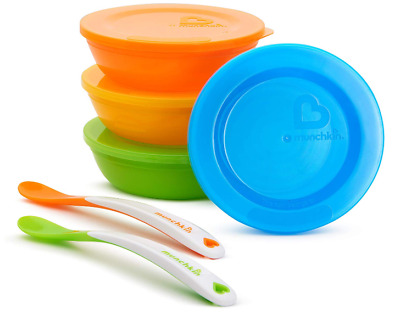 Munchkin Love a Bowls-10 Pcs. Bowl and Spoon Set with Soft Tip Infant/Kid Spoons