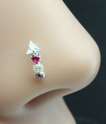 Body Jewelry Ethnic Nose Stud Ruby Nose Stud 925 Sterling Silver