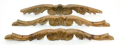 Set of 3 Carved Wood Pediment Ornate Over Door Architectural Wall Decor Salvage