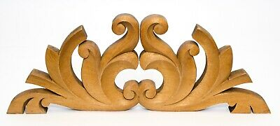 Antique Carved Wood Pediment Ornate Over Door Architectural Wall Decor Salvage
