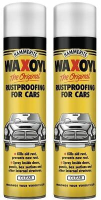 Hammerite Waxoyl Clear 400ml Car Aerosol Rustproofing Rust Prevent Seal x 2