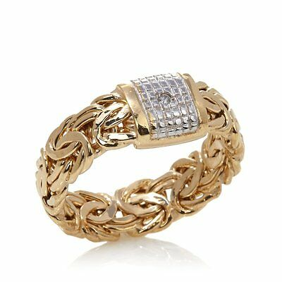Size 8 Technibond Diamond Accent Byzantine Ring 14K Yellow Gold Clad Silver
