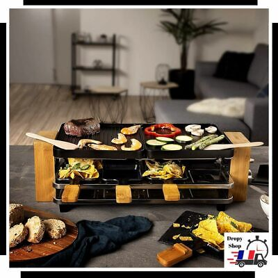 Appareil a Raclette Coupelles Gril Luxe 8 personnes Chassis Bambou Fromage Fondu