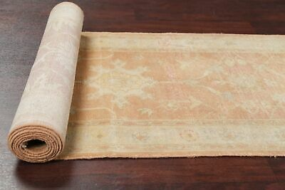 "Vintage Muted 14 ft Runner Oushak Egyptian Stair Rug Hand-Knotted 13' 6"" x 2' 6"""